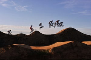 24 hours in pictures: London, England: BMX riders compete in the UCI BMX Supercross World Cup