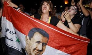 Supporters of Syrian president Bashar al-Assad