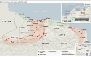 地图:利比亚 - 叛军前往的黎波里(小图)