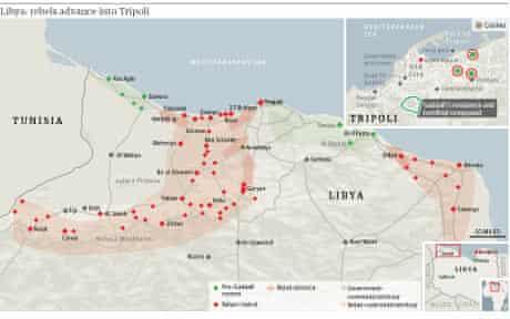 Map: Libya - rebels advance into Tripoli (small image)