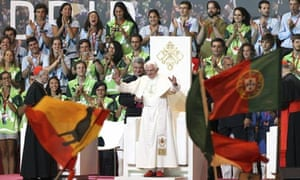 The pope speaks in Madrid during World Youth Day