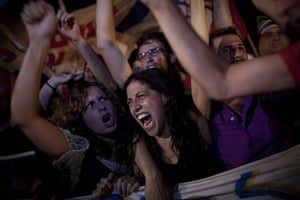 FTA: Oded Balilty: Israelis shout during a protest against the cost of living