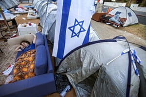 FTA: Oded Balilty: Israeli protesters sleep in a protest tent encampment