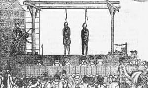 A depiction of a public hanging in Newgate, circa 1797