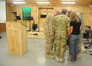 Afghanistan baptism: Members of the US and UK forces attend a Baptism service