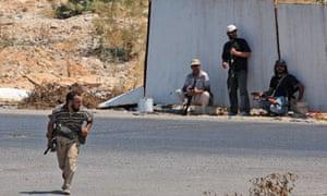 Libyan rebels near Bab al-Aziziya