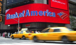 Taxis pass the Bank of America