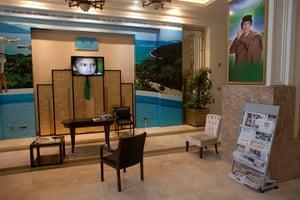 Media in Rixos hotel: The deserted entrance to the Rixos hotel, Tripoli