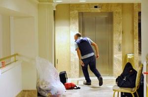 Media in Rixos hotel: A member of the media runs, Rixos Hotel, Tripoli