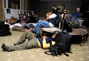 Media in Rixos hotel: Members of the media gather in the basement, Rixos Hotel, Tripoli