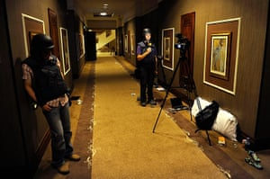 Media in Rixos hotel: A television reporter speaks during a recording, Rixos Hotel, Tripoli