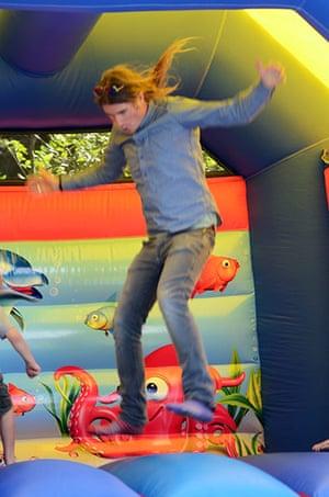 Week in pics: Rob da Bank: bouncy castle