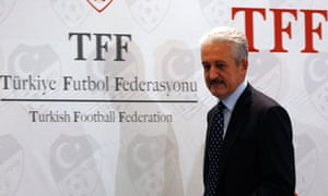 Turkish Football Federation Chairman Aydinlar arrives to a news conference in Istanbul