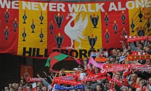 Liverpool football club supporters sing