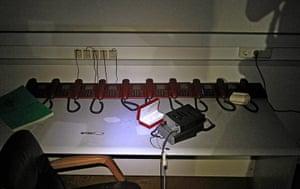 Bab al-Aziziya, Tripoli: Telephones are seen inside a bunker