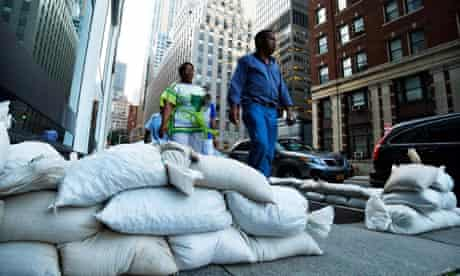 Sandbags in downtown Manhattan