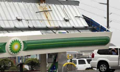A fallen petrol station canopy hit by Hurricane Irene, at the Atlantic Food Mart in Surf City
