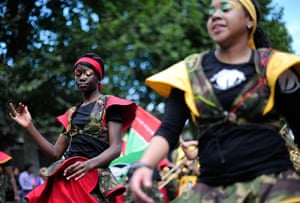 Notting Hill carnival: Performers take part in the Notting Hill Carnival children's day