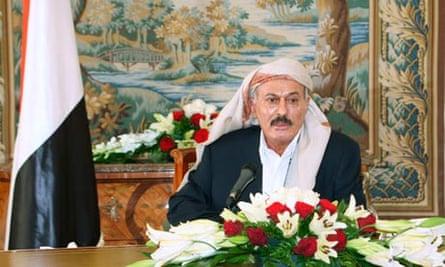 Yemen's President Ali Abdullah Saleh delivers a televised speech