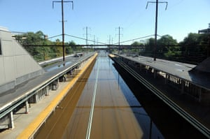 After Hurricane Irene: Train tracks are empty as trains remain idle at the Trenton Transit Center