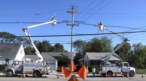 After Hurricane Irene: National Grid crews work to restore power near Providence College