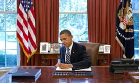 US president Barack Obama signs the Budget Control Act of 2011