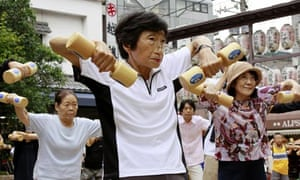Elderly Japanese people exercise