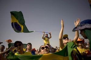 FTA: Jorge Guerrero: Brazilian pilgrims attend a mass at the Cuatro Vientos airbase