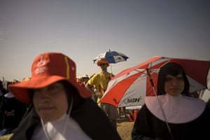FTA: Jorge Guerrero: Pilgrims attend a mass celebrated by the Pope at Cuatro Vientos