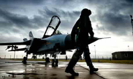 Squadron leader Tim Bullement with his F3 Tornado at RA Leuchars in Scotland
