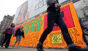 10 best: street art: Keith Haring Street Mural Recreated In Orginal Location