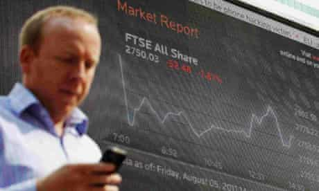 FTSE index display at Canary Wharf