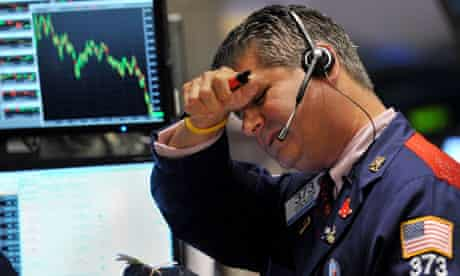 Trader on stock market floor