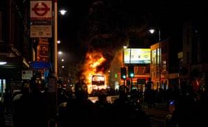 Tottenham riots: A double decker bus burns
