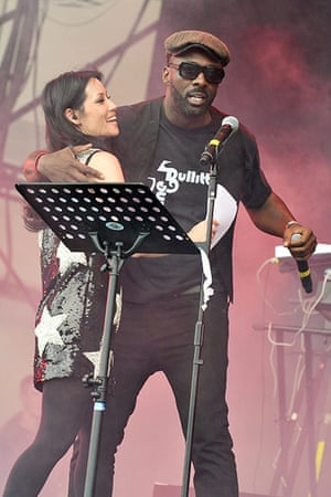 Big chill: Lucy Liu and Idris Elba perform on stage with The Bullitts