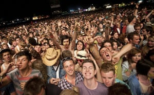 Big chill: The crowd wait for Chemical Brothers to headline The Deer Park stage