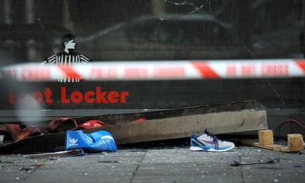 Debris outside a Foot Locker store in Brixton, south London
