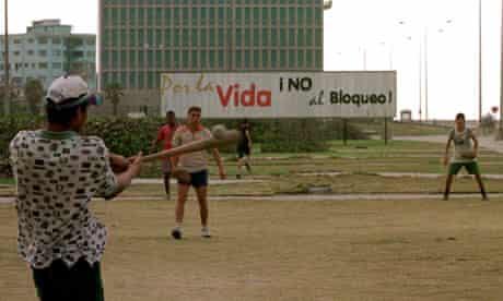 Cubans play baseball in Havana