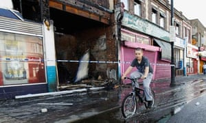 Shops damaged by rioting in Tottenham