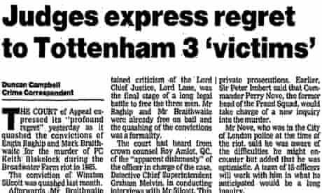 Judges express regret as PC Blakelock murder convictions are overturned, July 1991