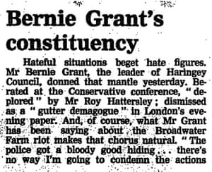 Leading article on Bernie Grant, 1985