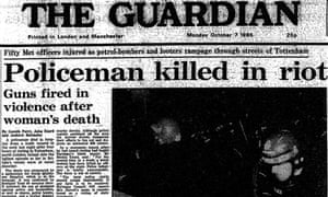 Guardian front page, October 7 1985, reporting the riots in Tottenham