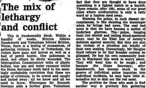 Guardian leading article, October 8th 1985, about Tottenham riots