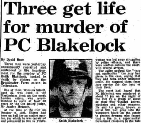 March 20th 1988, three convicted of murder of PC Keith Blakelock