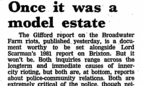 July 8th 1986 Guardian leading article, on Gifford report into Tottenham riots of October 1985
