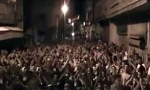 Amateur video purporting to be of protesters in Homs, Syria, on 7 August 2011.