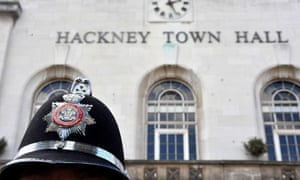 Policeman outside Hackney town hall