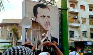 Syrian protesters in Hama