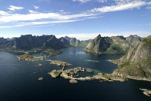 Scandinavian cabins: View from Rorbuer Huts,  Lofoten, Norway
