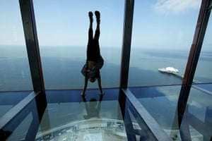 Blackpool Tower: Jessica Hill, 8, doing a handstand on the skywalk